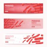 Διανυσματικά οριζόντια κόκκινα εμβλήματα Ιστού Probiotics καθορισμένα ελεύθερη απεικόνιση δικαιώματος