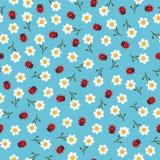 Διανυσματικά λουλούδια και ladybugs άνευ ραφής σχέδιο Στοκ Εικόνα