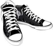Διανυσματικά πάνινα παπούτσια παπουτσιών απεικόνισης εκλεκτής ποιότητας μαύρα Στοκ εικόνα με δικαίωμα ελεύθερης χρήσης