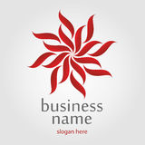 Κόκκινο λογότυπο λουλουδιών απεικόνιση αποθεμάτων