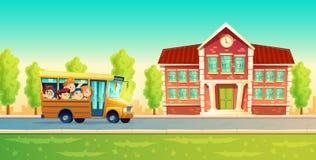 Διανυσματικά παιδιά κινούμενων σχεδίων πίσω στο σχολείο στο κίτρινο λεωφορείο Στοκ φωτογραφία με δικαίωμα ελεύθερης χρήσης