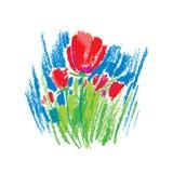 Διανυσματικά παιδιάστικα τυποποιημένα κόκκινα λουλούδια κρητιδογραφιών πετρελαίου απεικόνισης που απομονώνονται στο άσπρο υπόβαθρ Στοκ φωτογραφίες με δικαίωμα ελεύθερης χρήσης