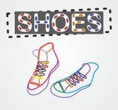 Διανυσματικά παπούτσια περιγράμματος χρώματος Στοκ Φωτογραφίες