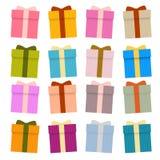 Διανυσματικά παρόντα κιβώτια, κιβώτια δώρων καθορισμένα στοκ εικόνες