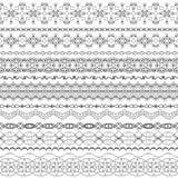 Διανυσματικά περίκομψα άνευ ραφής σύνορα στο ανατολικό ύφος Τρύγος τέχνης γραμμών διανυσματική απεικόνιση