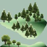 Διανυσματικά πεύκα και δέντρα πολυγώνων στο βουνό Στοκ Εικόνες
