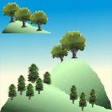 Διανυσματικά πεύκα και δέντρα πολυγώνων στο βουνό Στοκ φωτογραφία με δικαίωμα ελεύθερης χρήσης