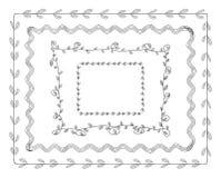 Διανυσματικά πλαίσια Doodle καθορισμένα απομονωμένα στο άσπρο υπόβαθρο, χαριτωμένη απεικόνιση Tamplate, σύνορα ελεύθερη απεικόνιση δικαιώματος