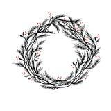 Διανυσματικά πλαίσιο ή σύνορα στεφανιών Χριστουγέννων σκιαγραφιών στοκ φωτογραφία