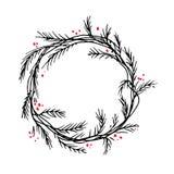 Διανυσματικά πλαίσιο ή σύνορα στεφανιών Χριστουγέννων σκιαγραφιών στοκ εικόνες