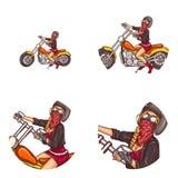 Διανυσματικά ποδηλατών προκλητικά εικονίδια ειδώλων τέχνης κοριτσιών λαϊκά ελεύθερη απεικόνιση δικαιώματος