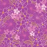 Διανυσματικά πορφυρά και ρόδινα τροπικά hibiscus λουλουδιών και άνευ ραφής υπόβαθρο σχεδίων frangipani Τελειοποιήστε για το ύφασμ ελεύθερη απεικόνιση δικαιώματος