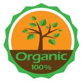 Διανυσματικά πράσινα δέντρο και φύλλα 100% οργανική ετικέτα, οικολογία, φύση, περιβάλλον, οργανικά εικονίδια Στοκ φωτογραφία με δικαίωμα ελεύθερης χρήσης
