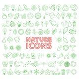 Διανυσματικά πράσινα εικονίδια eco καθορισμένα Απεικόνιση αποθεμάτων