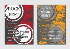 Διανυσματικά πρότυπα αφισών βράχου, τζαζ ή μουσικής μπλε καθορισμένα Στοκ φωτογραφίες με δικαίωμα ελεύθερης χρήσης