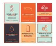 Διανυσματικά πρότυπα για τη Παγκόσμια Ημέρα κατά του AIDS Στοκ Φωτογραφίες