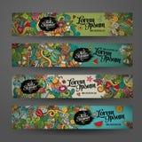 Διανυσματικά πρότυπα εμβλημάτων με το καλοκαίρι doodles Στοκ φωτογραφία με δικαίωμα ελεύθερης χρήσης