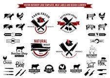 Διανυσματικά πρότυπα λογότυπων κρεοπωλείων, ετικέτες, εικονίδια και στοιχεία σχεδίου Στοκ Εικόνες