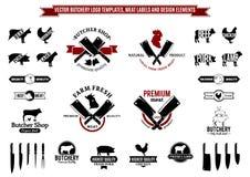 Διανυσματικά πρότυπα λογότυπων κρεοπωλείων, ετικέτες, εικονίδια και στοιχεία σχεδίου Στοκ εικόνες με δικαίωμα ελεύθερης χρήσης