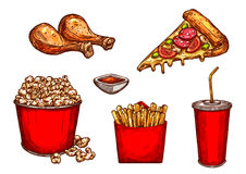 Διανυσματικά πρόχειρα φαγητά και ποτά γρήγορου φαγητού εικονιδίων σκίτσων ελεύθερη απεικόνιση δικαιώματος