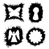 Διανυσματικά πλαίσια μελανιού με μορφή πεταλούδας, κλειδαρότρυπας, αγγέλου και εργαλείου Στοκ εικόνες με δικαίωμα ελεύθερης χρήσης