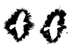 Διανυσματικά πλαίσια μελανιού με μορφή πουλιών Στοκ εικόνα με δικαίωμα ελεύθερης χρήσης