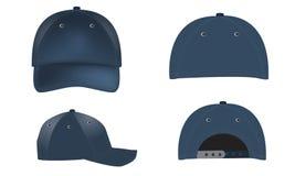 Διανυσματικά ρεαλιστικά καπέλα του μπέιζμπολ - μπροστινές, πίσω και πλάγιες όψεις Στοκ εικόνα με δικαίωμα ελεύθερης χρήσης