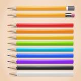 Ρεαλιστικά μολύβια Στοκ Εικόνα
