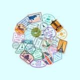 Διανυσματικά σημάδια παγκόσμιων μετανάστευσης και ταχυδρομικών σφραγίδων απεικόνιση αποθεμάτων