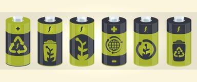 Διανυσματικά στοιχεία κυλίνδρων μπαταριών με τα εικονίδια eco ελεύθερη απεικόνιση δικαιώματος
