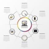 Διανυσματικά στοιχεία κύκλων για infographic Πρότυπο για το dia ανακύκλωσης διανυσματική απεικόνιση