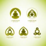 Διανυσματικά στοιχεία λογότυπων γιόγκας στοκ εικόνα με δικαίωμα ελεύθερης χρήσης