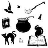 Διανυσματικά στοιχεία σχεδίου μαγισσών μαγικά καθορισμένα Χέρι που σύρεται, doodle, συλλογή μάγων σκίτσων Witchcraft σύμβολα διανυσματική απεικόνιση