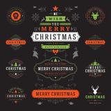Διανυσματικά στοιχεία σχεδίου ετικετών και διακριτικών Χριστουγέννων καθορισμένα διανυσματική απεικόνιση