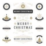 Διανυσματικά στοιχεία σχεδίου ετικετών και διακριτικών Χριστουγέννων καθορισμένα απεικόνιση αποθεμάτων