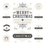Διανυσματικά στοιχεία σχεδίου ετικετών και διακριτικών Χριστουγέννων καθορισμένα Στοκ Φωτογραφίες