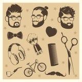 Διανυσματικά στοιχεία hipster καθορισμένα - αρσενικά κεφάλια, ψαλίδι διανυσματική απεικόνιση