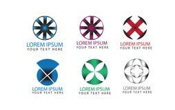 Διανυσματικά στρογγυλά αφηρημένα στοιχεία για το σχέδιο λογότυπων, επιχειρησιακά σύμβολα, σύνολο εικονιδίων Στοκ Εικόνες