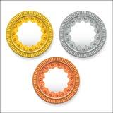 Διανυσματικά στρογγυλά κενά μετάλλια του χρυσού ασημένιου χαλκού Μπορεί να χρησιμοποιηθεί ως εικονίδια κουμπιών νομισμάτων διανυσματική απεικόνιση