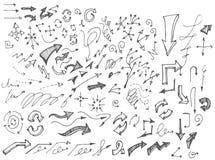 Διανυσματικά συρμένα χέρι βέλη καθορισμένα απομονωμένα στο άσπρο σκίτσο Στοκ Εικόνα