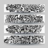 Διανυσματικά συρμένα χέρι περιγραμματικά εμβλήματα Doodle μουσικής ιχνών γραφικής παράστασης Στοκ Φωτογραφία