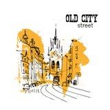 Διανυσματικά συρμένα χέρι σκίτσα πόλεων ελεύθερη απεικόνιση δικαιώματος