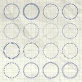 Διανυσματικά συρμένα χέρι στοιχεία λογότυπων και διακριτικών κύκλων καθορισμένα ελεύθερη απεικόνιση δικαιώματος