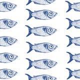 Διανυσματικά συρμένα χέρι ψάρια άνευ ραφής Στοκ φωτογραφίες με δικαίωμα ελεύθερης χρήσης