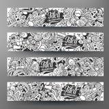 Διανυσματικά συρμένα χέρι doodles εμβλήματα ιδέας κινούμενων σχεδίων Στοκ Εικόνες