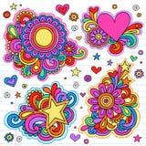 Διανυσματικά σχέδια πλαισίων Doodle σημειωματάριων Groovy Στοκ Εικόνες