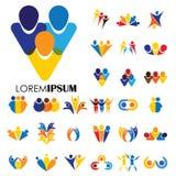 Διανυσματικά σχέδια εικονιδίων λογότυπων των ανθρώπων, παιδιά, φιλία διανυσματική απεικόνιση