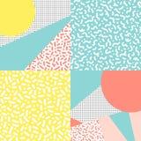 Διανυσματικά σχέδια με τα γεωμετρικά στοιχεία στο ύφος 80& x27 s Εγώ Στοκ Φωτογραφία