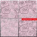 Διανυσματικά σχέδια με τα χέρι-σκιαγραφημένα τριαντάφυλλα Στοκ φωτογραφίες με δικαίωμα ελεύθερης χρήσης