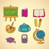 Διανυσματικά σχολικά εικονίδια καθορισμένα απεικόνιση αποθεμάτων